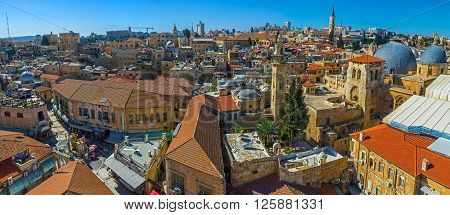 Panorama of the main landmarks of the Christian Quarter - the Church of the Holy Sepulchre and the scenic Muristan Square from the bell tower of the Lutheran Kirche of the Redeemer Israel.
