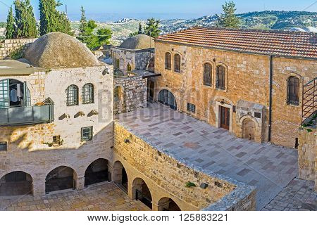 JERUSALEM ISRAEL - FEBRUARY 16 2016: The courtyard of the rebuilt Byzantine Church on the mount Zion here are located such sites as the Cenacle (Last Supper room) and the burial site of King David on February 16 in Jerusalem