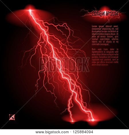 Red oblique branchy lightning line. Illustration with space for text