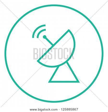 Radar satellite dish line icon.