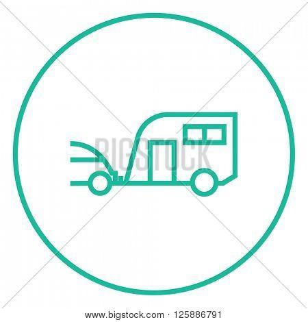 Car with caravan line icon.