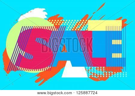 Sale banner on colorful background with geometric elements. Sale word for tag, poter and advertisment. Vector illustration.