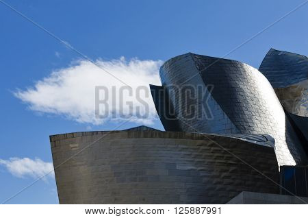 Bilbao Spain - March 26 2016: Details of the Guggenheim Museum built in 1997 by canadian architect Frank Gehry poster