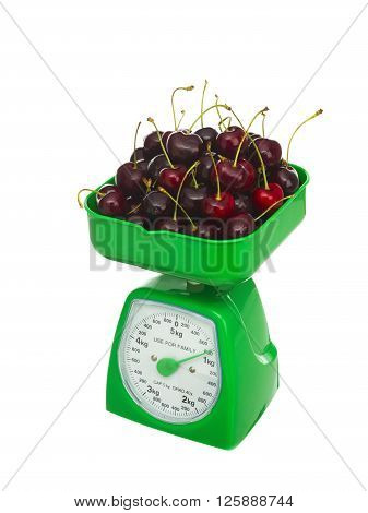 1kg of cherries isolated on white background