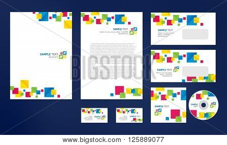 Professional corporate identity creative design brandbook blue green yellow red white business style colorful squares