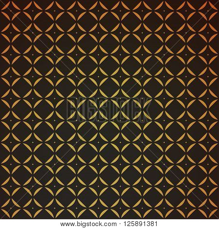 Gold geometric retro abstract seamless cube pattern with rhombuses, square. Vintage party. Wrapping paper. Scrapbook. Vector illustration. Art deco Background. Graphic texture. Seamless pattern.