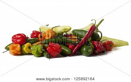 bunch of hot peppers isolated on white background