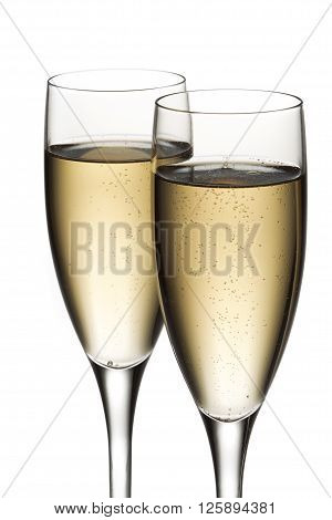 close up view of white wine isolated on a white background