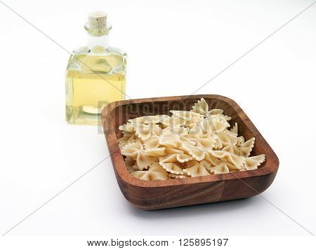 cooked bowtie pasta isolated on a white background