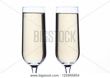 cropped image of champagne flutes isolated on a white background