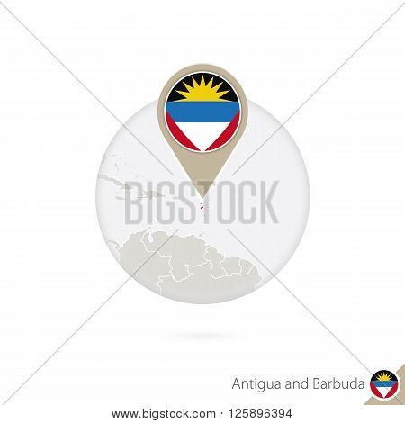 Antigua And Barbuda Map And Flag In Circle. Map Of Antigua And Barbuda, Antigua And Barbuda Flag Pin