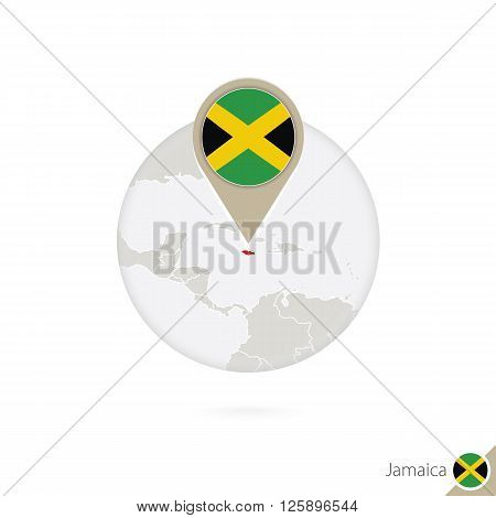 Jamaica Map And Flag In Circle. Map Of Jamaica, Jamaica Flag Pin. Map Of Jamaica In The Style Of The