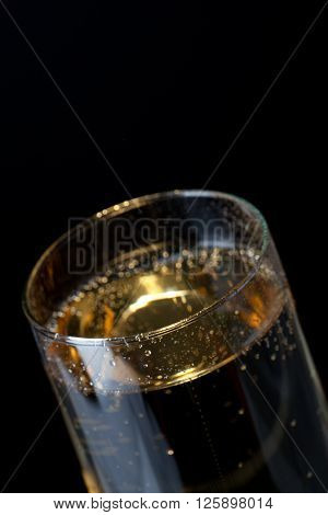flute of champagne isolated on a black background