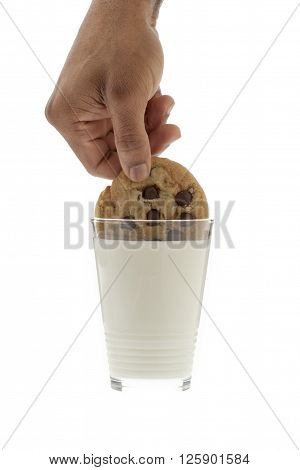 hand with choco chips isolated on a white background