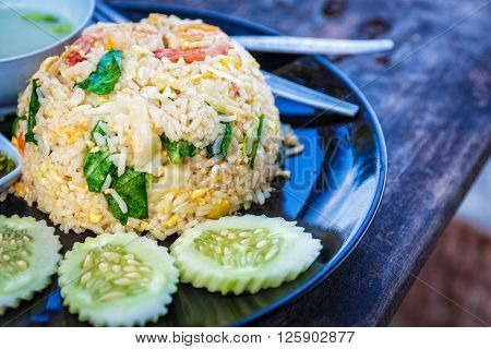 Fried rice thai style on the beach in Thailand
