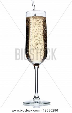 Image Of Champagne Falling In Champagne Flute