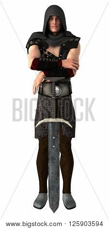 Young handsome guard leaning on his sword isolated on white background. 3d illustration