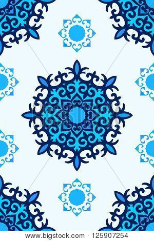 Seamless arabic ornament, Abstract vector background blue colors