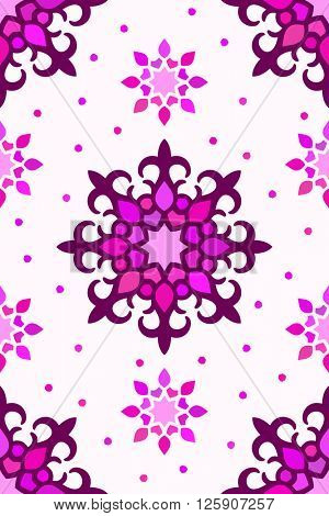 Seamless kazakh ornament, Abstract vector background magenta colors