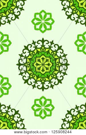 Seamless arabic ornament, Abstract vector background green colors