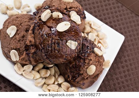 Plate Of Chocolate Ice Cream With Nuts