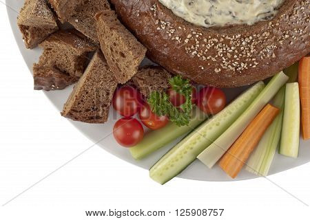 Pumpernickel Bread With Spinach Dip Vegetables Slices And Bread Cubes