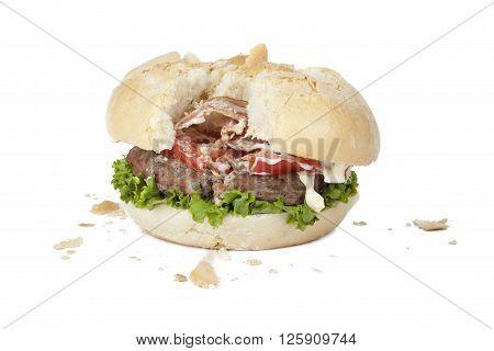 Image of ruined hamburger isolated on white background