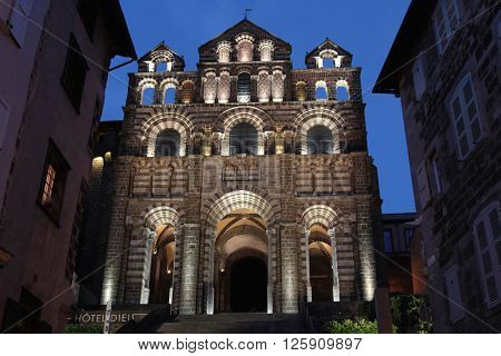 Le Puy, France, June 15, 2015 : Cathedral Notre-dame In Le Puy. Le Puy Has Been A Centre Of Pilgrima
