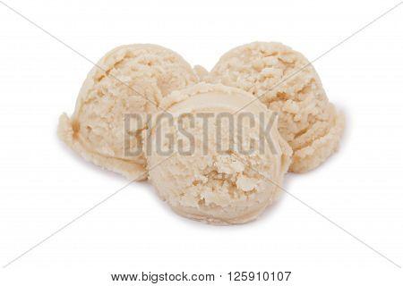 scoops of vanilla ice cream isolated on white background
