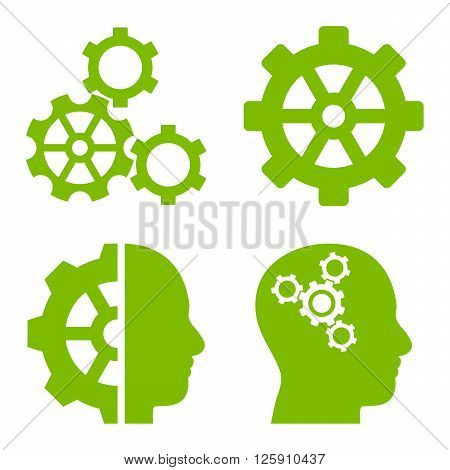 Intellect Gears vector icons. Style is eco green flat symbols on a white background.
