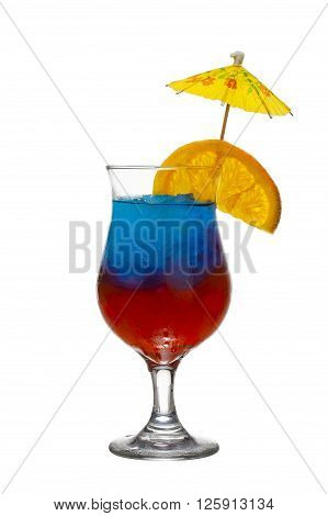 image of tropical cocktail isolated on white background