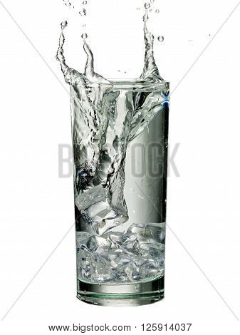 water splash in a glass isolated on white background