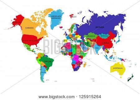 Colored Political World Map With Names Of Sovereign Countries And Larger Dependent Territories. Diff
