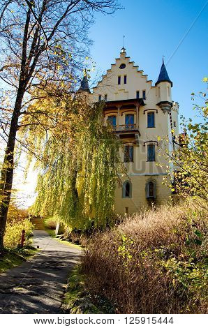 Castle of Hohenschwangau in the mountains of Germany