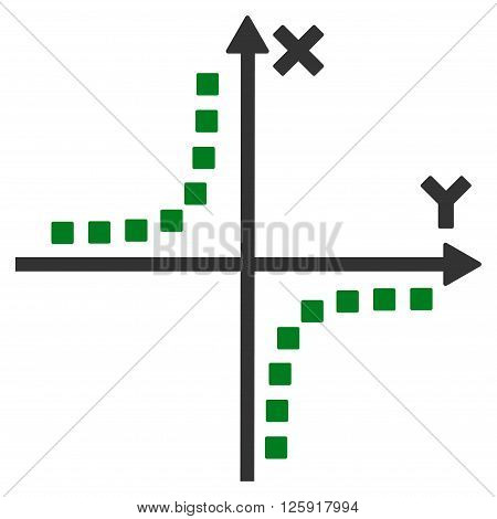 Hyperbola Plot vector toolbar icon. Style is bicolor flat icon symbol, green and gray colors, white background, square dots.