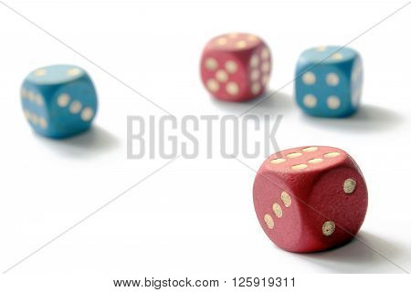 Six sided dice isolated on white background.