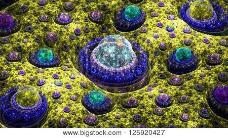 Landscape of exotic planets. Microbes under microscope. Microcosm. Mysterious psychedelic relaxation wallpaper. Sacred geometry. Fractal abstract pattern. Digital artwork creative graphic design.