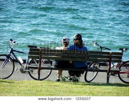 Bikers Resting By Sea