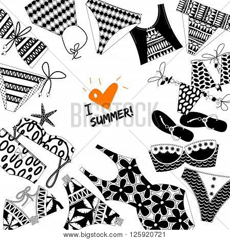 I love summer! Background with women's black and white bathing suits. Template for card poster brochure. Vector illustration.