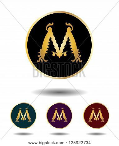 Vector Icon Logo Set 3 In 1 With Vintage Gothic Gold Letter