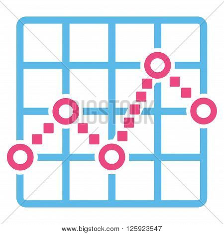 Line Plot vector toolbar icon. Style is bicolor flat icon symbol, pink and blue colors, white background, square dots.