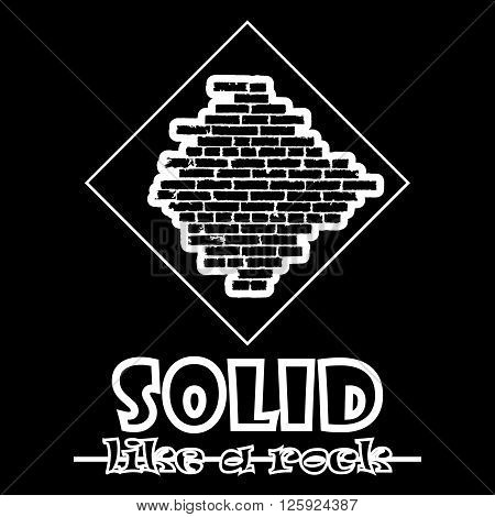 Solid Like A Rock. Abstract Vector Black Style Flat Logo Print Brick Wall Design. Used For Print On