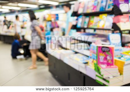 Abstract Blurred Of People In Book Shopping Center