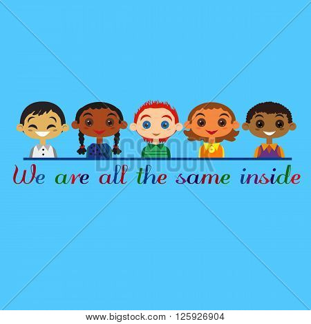 Motivated illustration of United Children different nationalities. Concept of multinational friendship. Kids of different nations friendship. Different nations are united friends. Vector illustration.