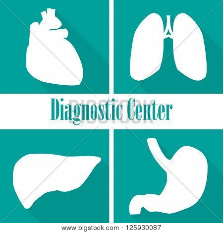 Icons diagnostic centers in a flat design. Heart lungs liver stomach