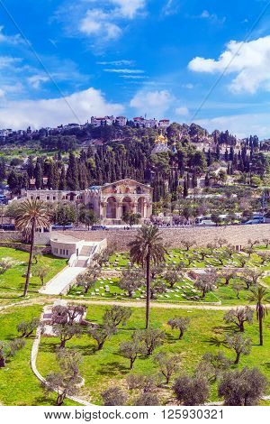 Church of All Nations and Mary Magdalene Convent on the Mount of Olives Jerusalem israel poster