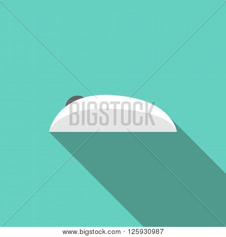 White wireless computer mouse on turquoise background with long shadow. Side view. Flat style icon. PC and technology concept. EPS 8 vector illustration no transparency