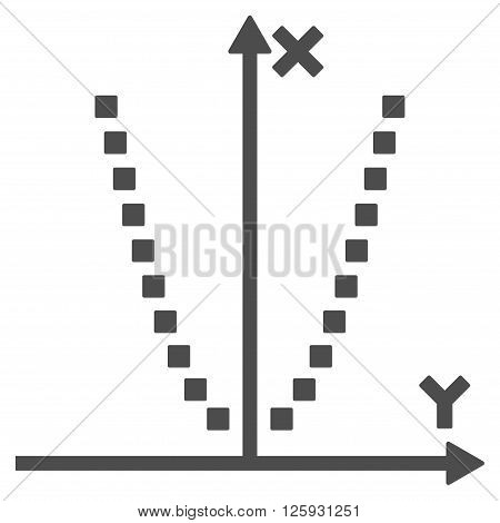 Parabole Plot vector toolbar icon. Style is flat icon symbol, gray color, white background, square dots.