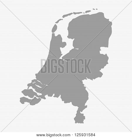 Map Of Netherlands In Gray On A White Background