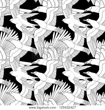 Seamless pattern with flying raven, seagull and swallow. Anti-stress coloring page with birds. Black white hand drawn bird.Tile texture. Vector illustration.